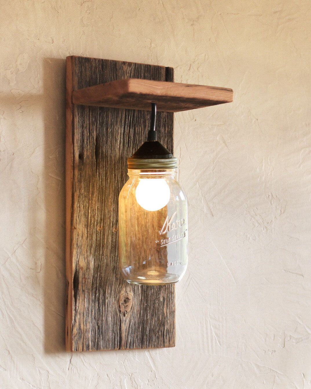 Raw Wood Wall Sconce With Mason Jar