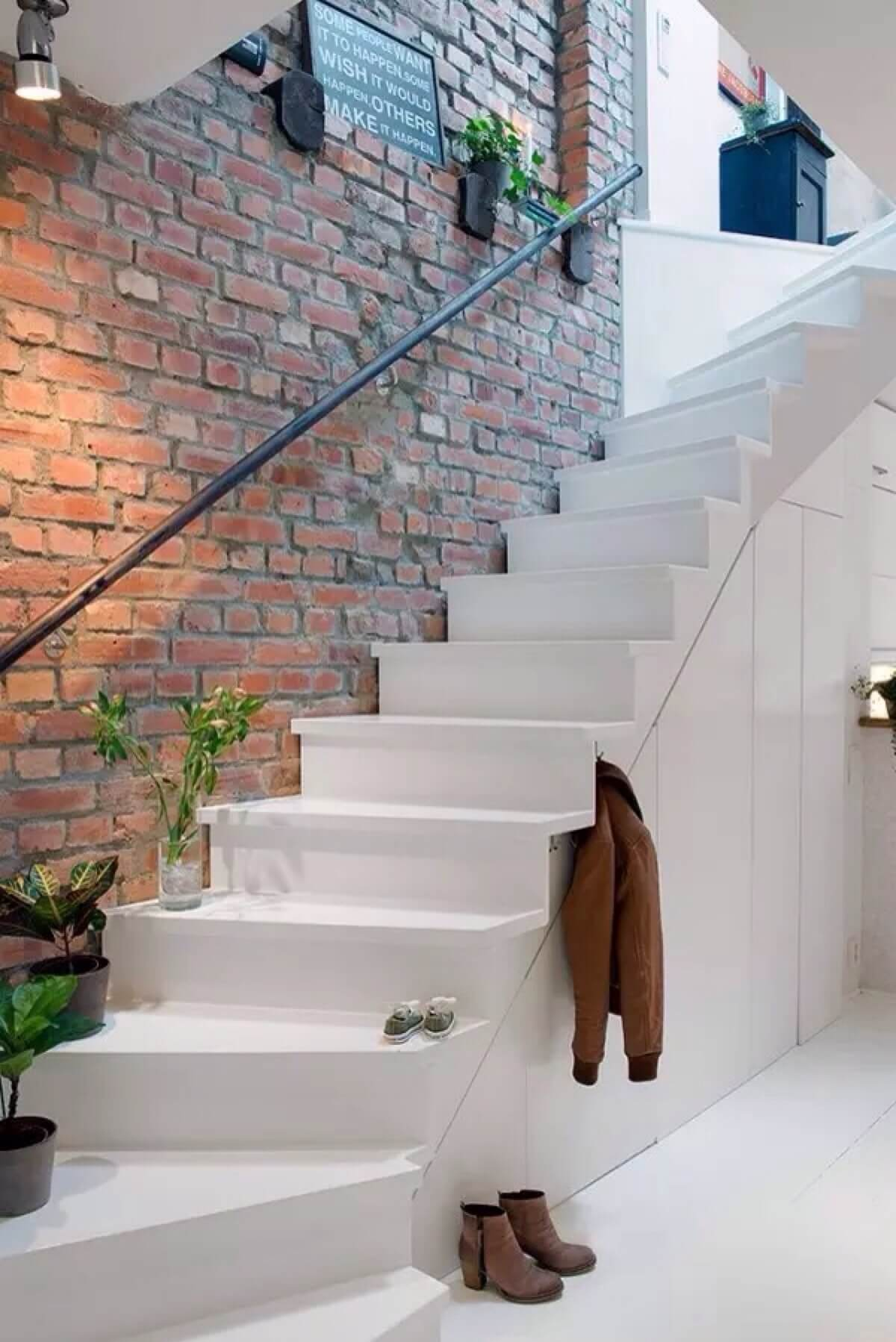 Exposed Brick and a Winding Staircase