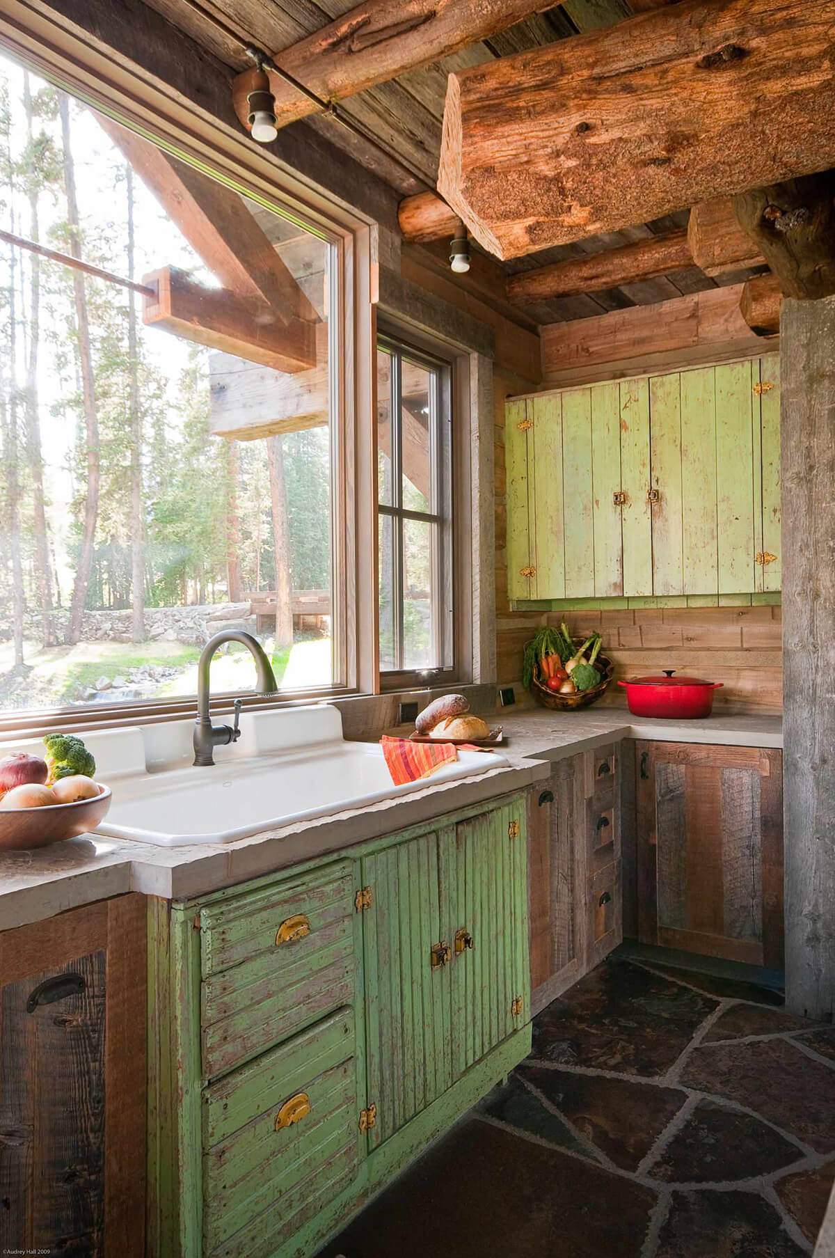 Woodland Distressed Green and Raw Wood Cabinets