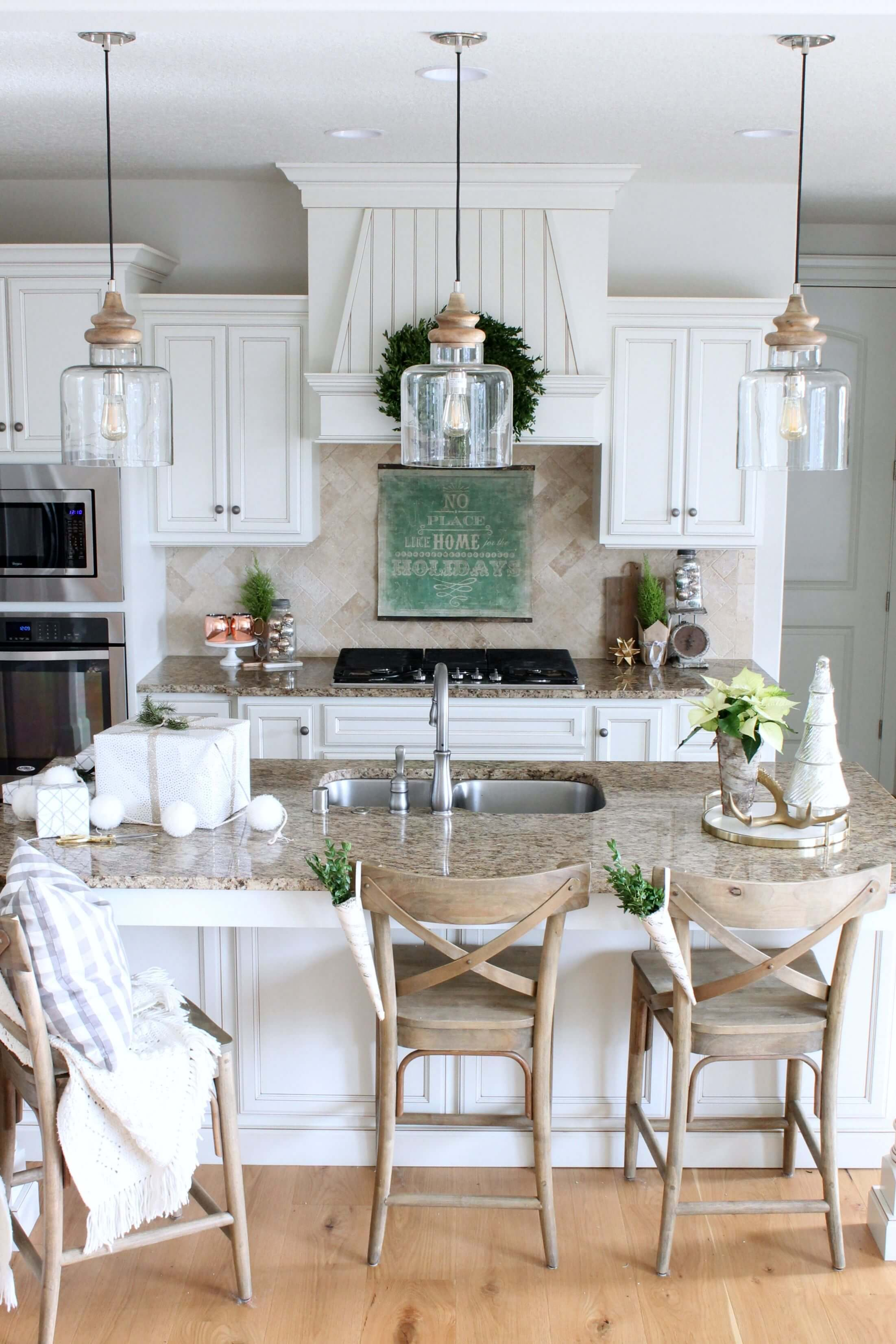 classic white cabinets with beveled edges - White Farmhouse Kitchen