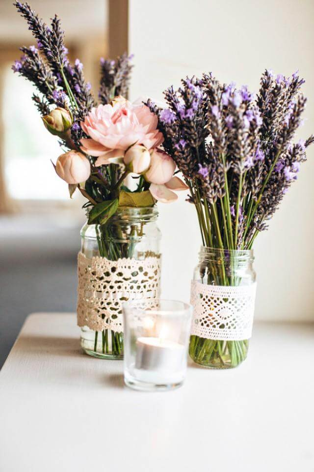 Mason Jar and Lace Flower Arrangements