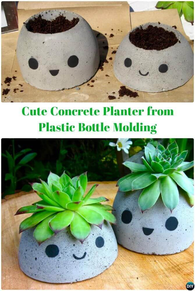 Cute and Small DIY Concrete Planter with Smile