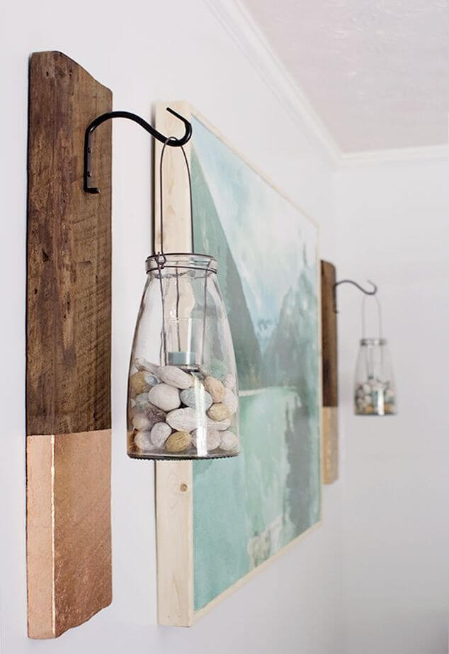 marvelous Wall Hanging Decor Part - 6: Seashell and Glass Bottle Hanging Decor