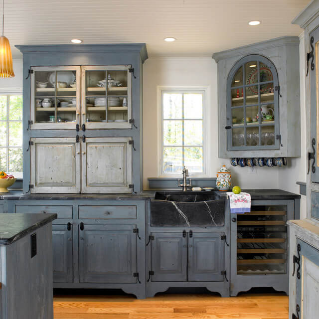 Dark Cobalt Blue Matte Farmhouse Cabinets