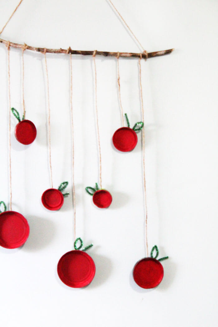 Hanging wall decor Superb Diy Apple And String Wall Decor Homebnc 37 Best Diy Wall Hanging Ideas And Designs For 2019