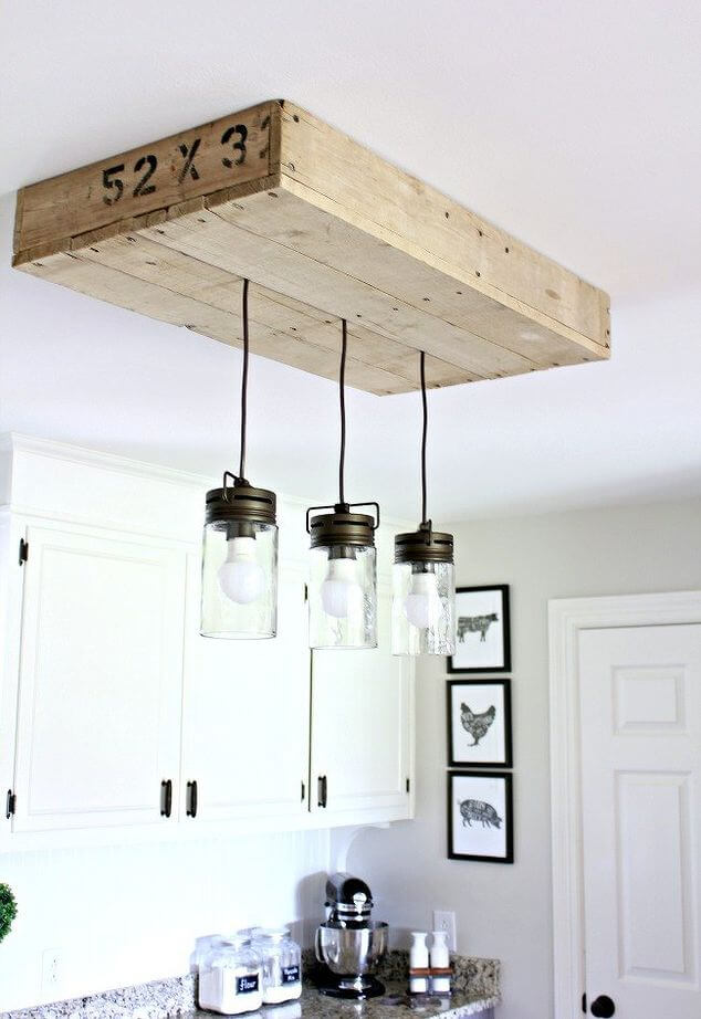 Wooden Palette Suspended Track Lighting