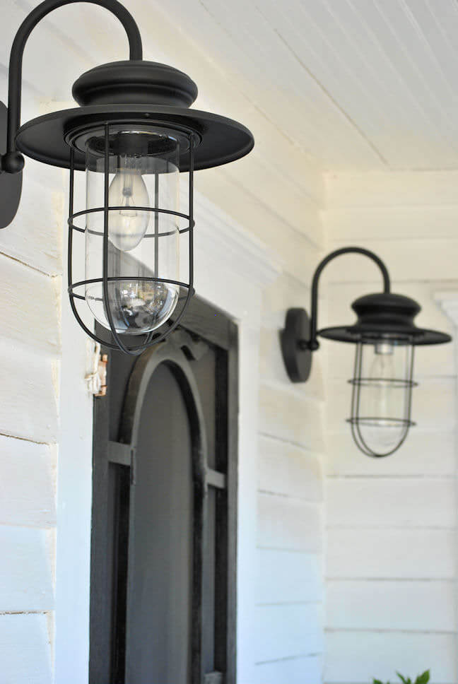 Gooseneck Wall Sconces With Wire-caged Glass Covers