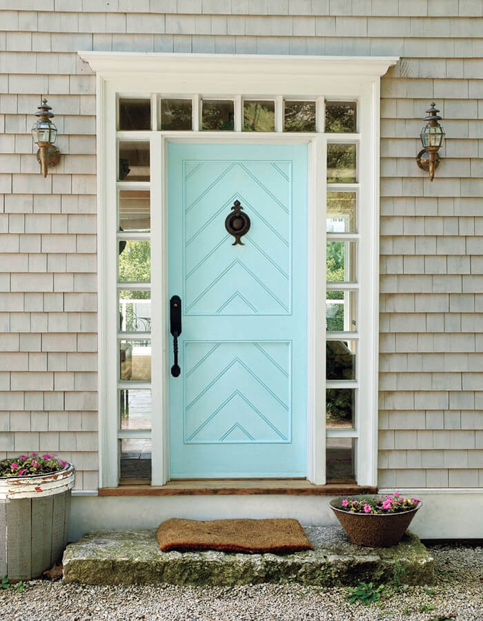 Bright Blue Patterned Front Door