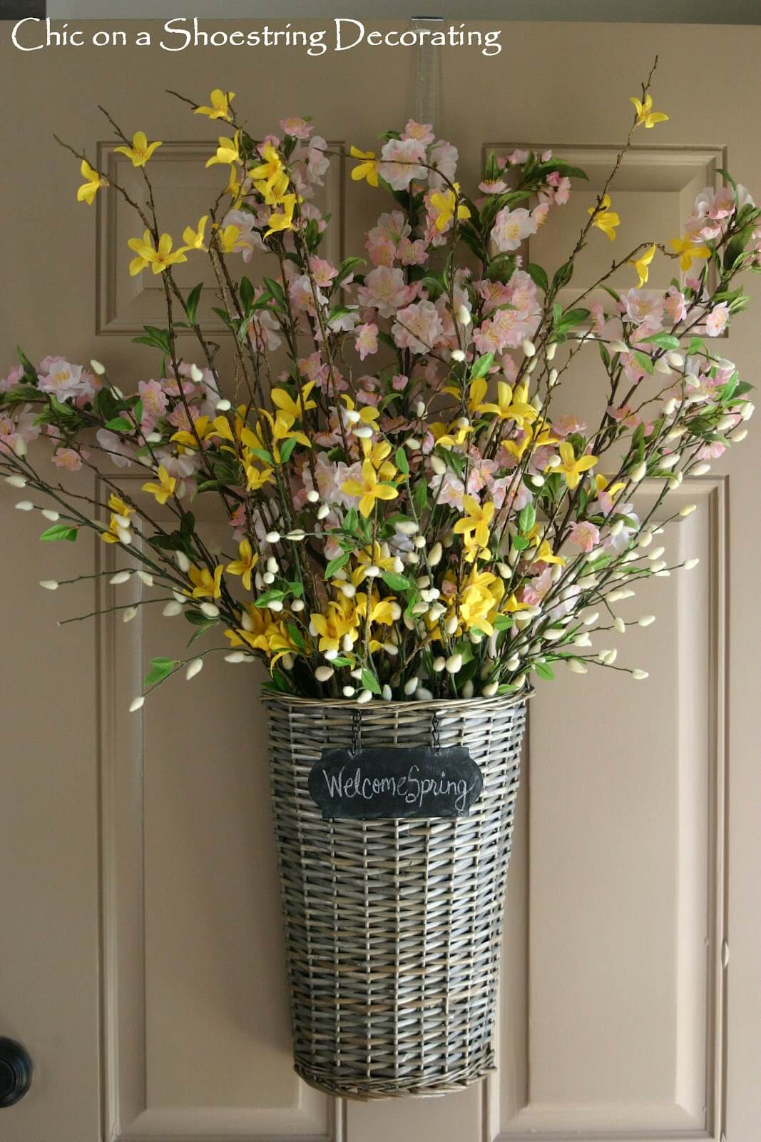 Door Basket with Pink and Yellow Arrangement