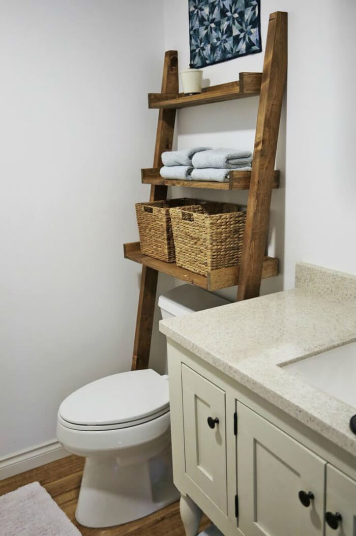 Rustic Asymmetrical Sawhorse Bathroom Accessory Unit
