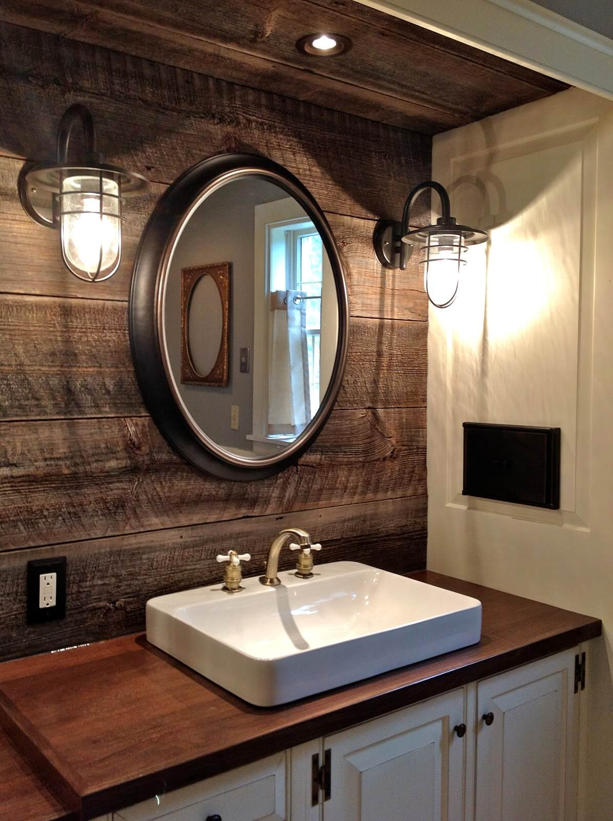 Statement Mirror and Rustic Feature Wall
