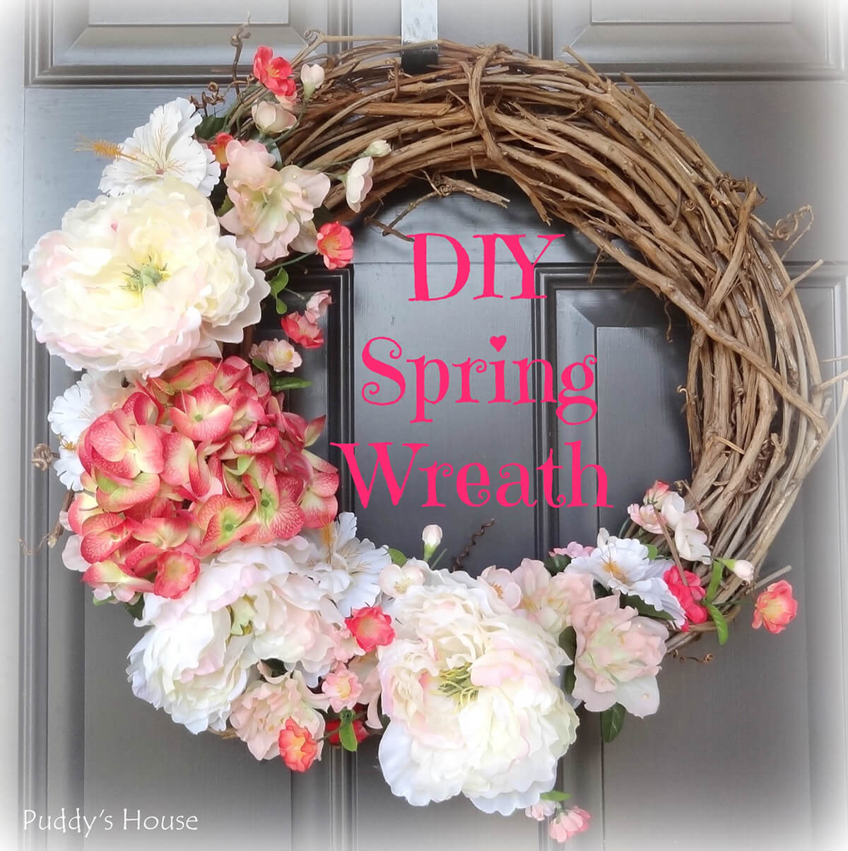 Blooming Peonies on a Grapevine Wreath