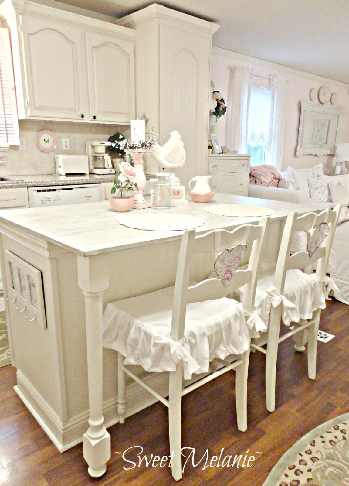 1. Cream Colored Cabinets And Ruffled Seat Covers