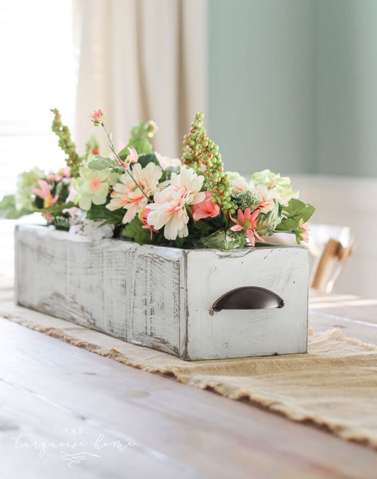 spring centerpiece ideas with drawers - Centerpiece Ideas