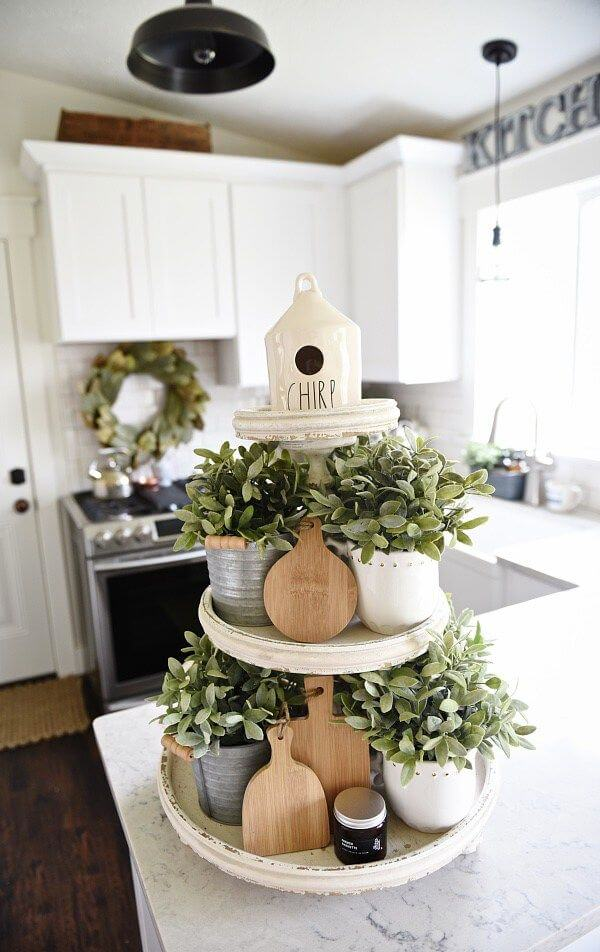 Distressed White 3-tiered Herb Garden