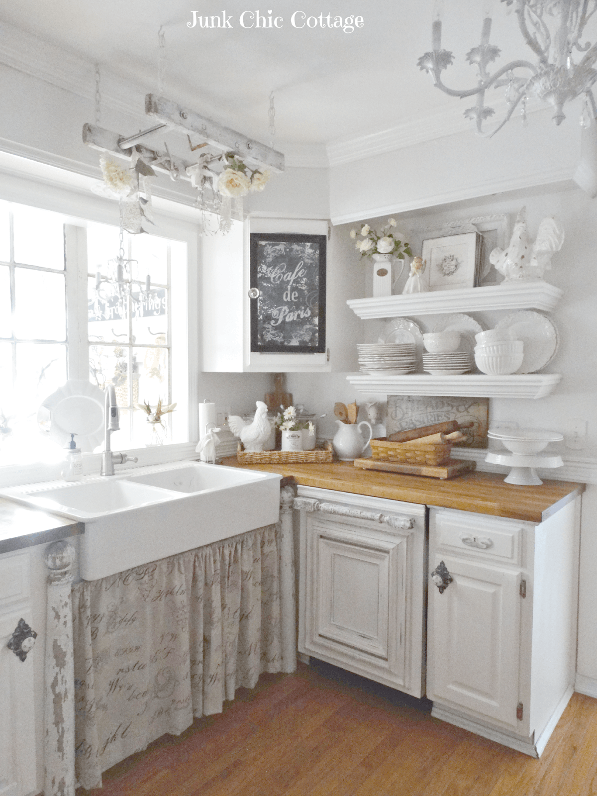 3 Distressed White Cabinets And Floating Shelves