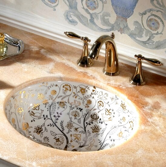 Elegant Countertop and Floral Basin