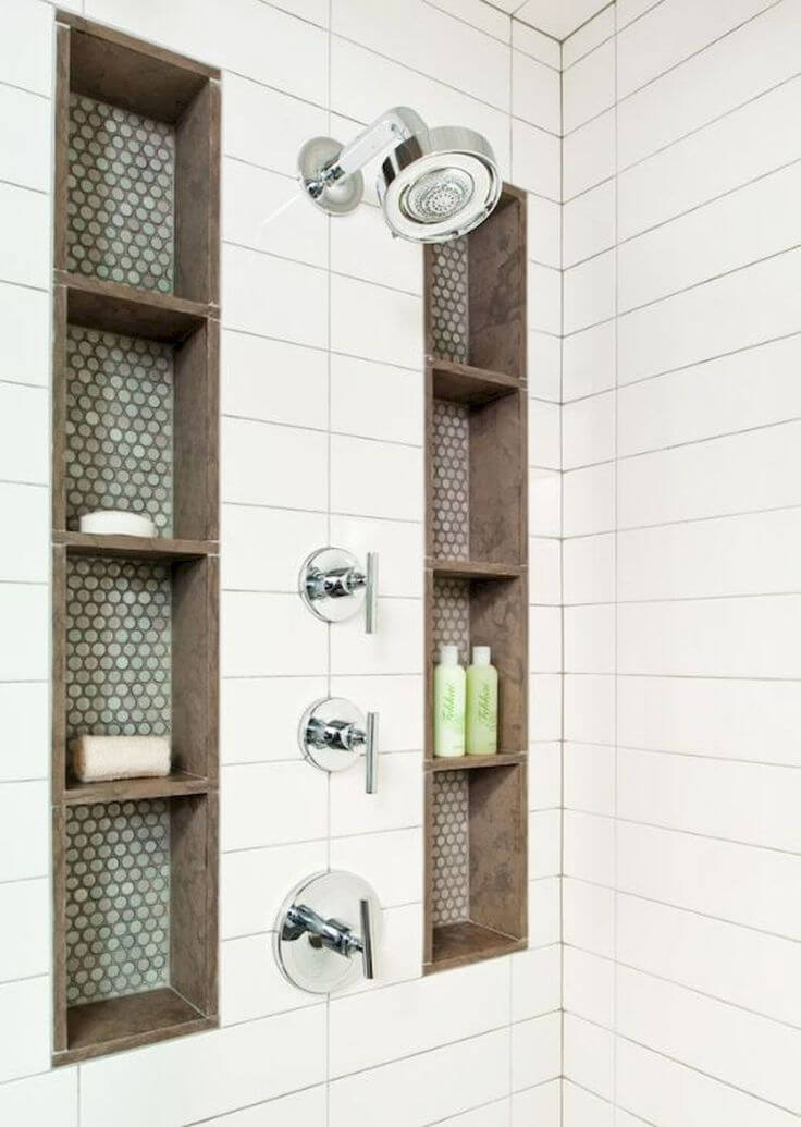 Built In Shower Storage Columns With Decorative Tile