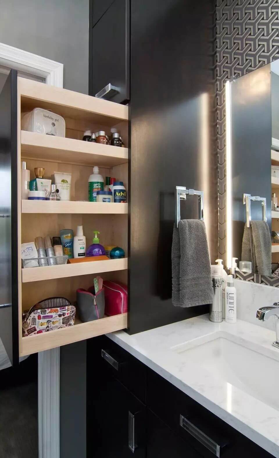 Hidden Pull out Shelving 25 Best Built in Bathroom