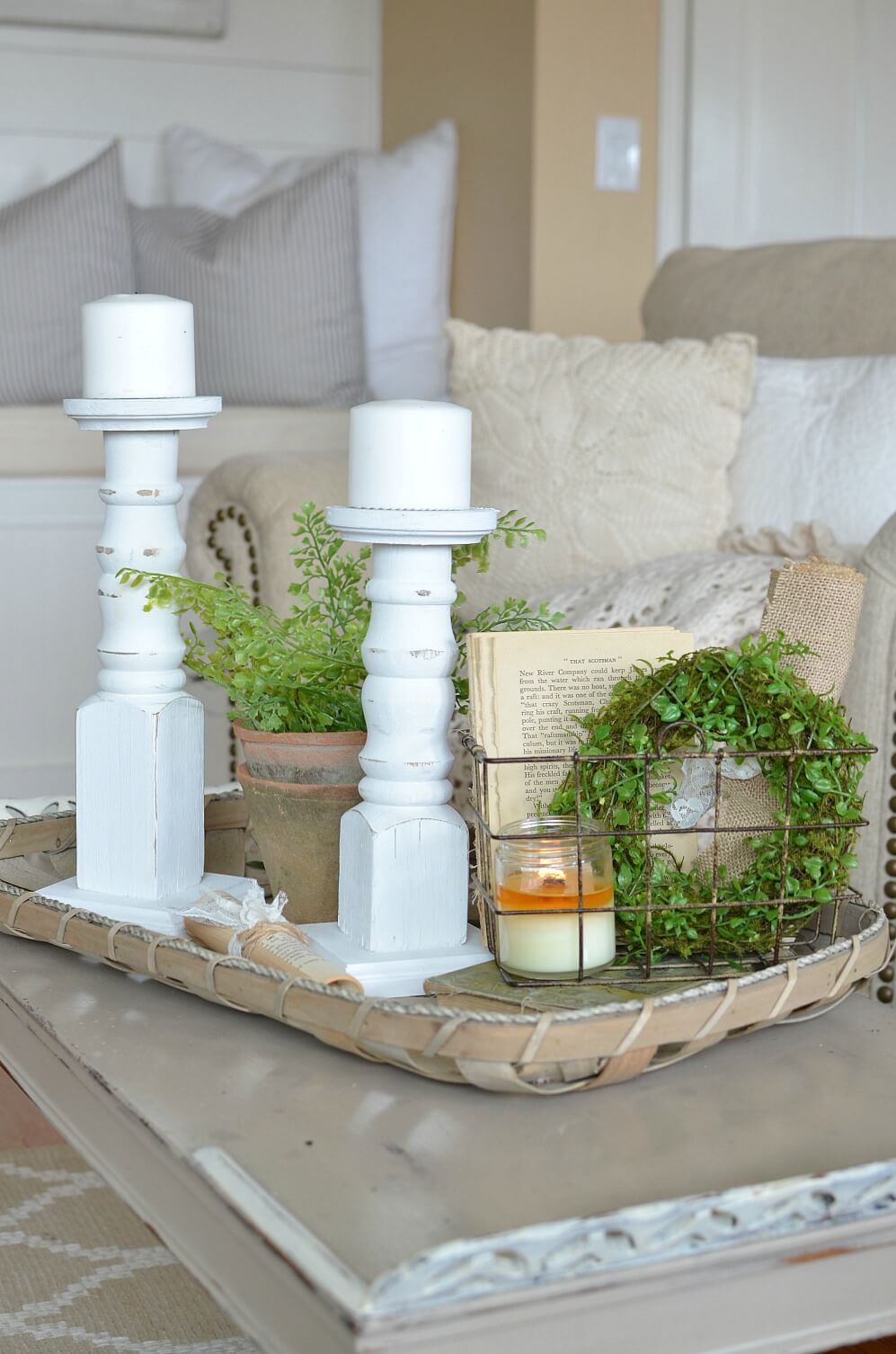 Basket Tray with Greenery and Candles