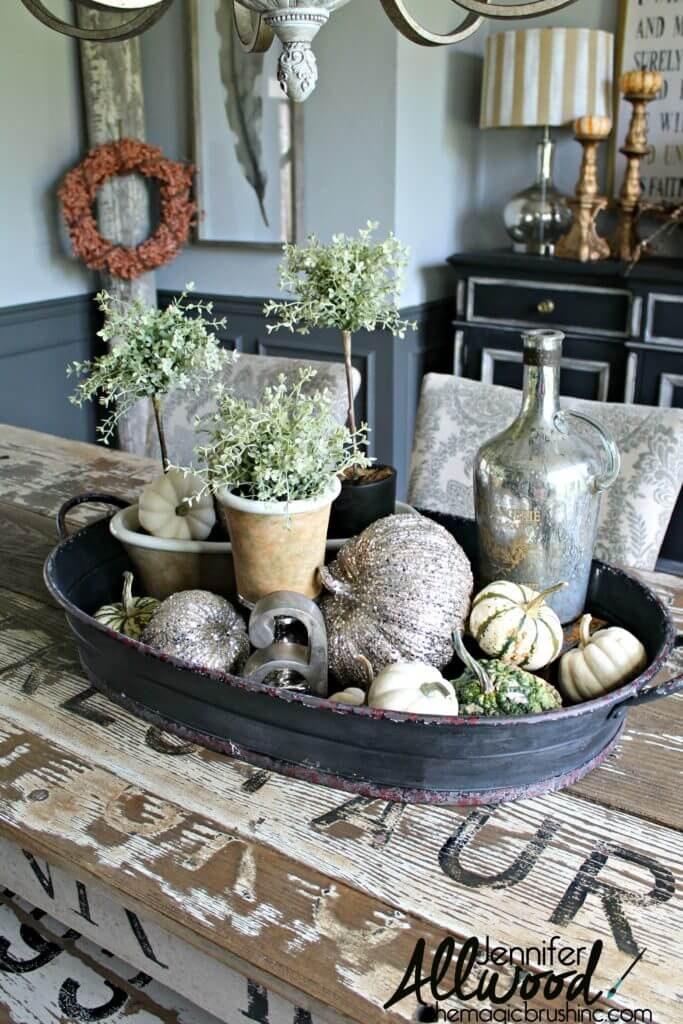 Metal Basin with Glitzy Pumpkins and Topiaries