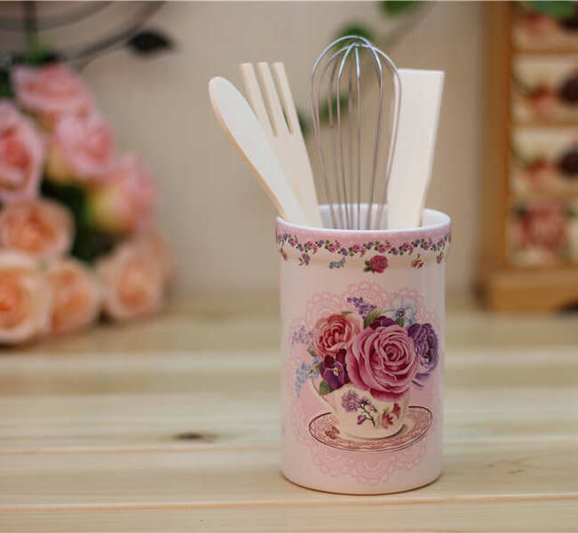 Floral Teacup Motif Utensil Holder