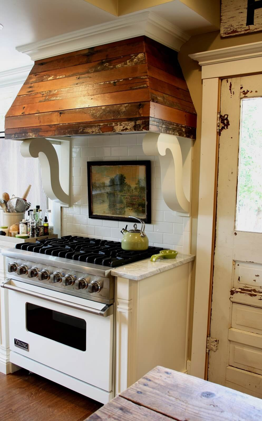 Reclaimed Wood and Scroll Range Hood