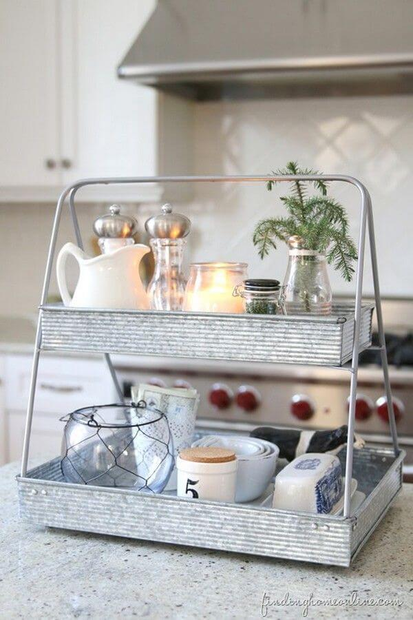 Galvanized Ladder Style Kitchen Organizer