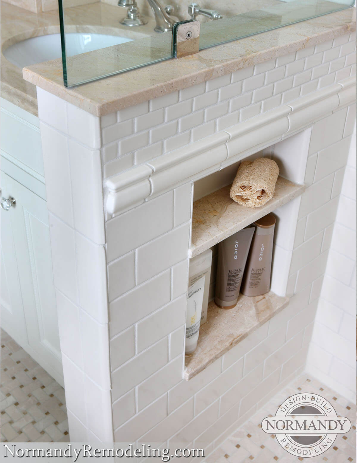 Tiny Recessed Marble Shelves