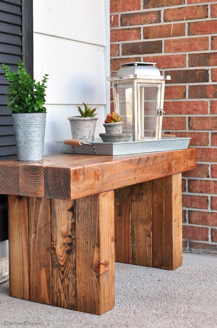 Rustic Hardwood Outdoor Potting Table