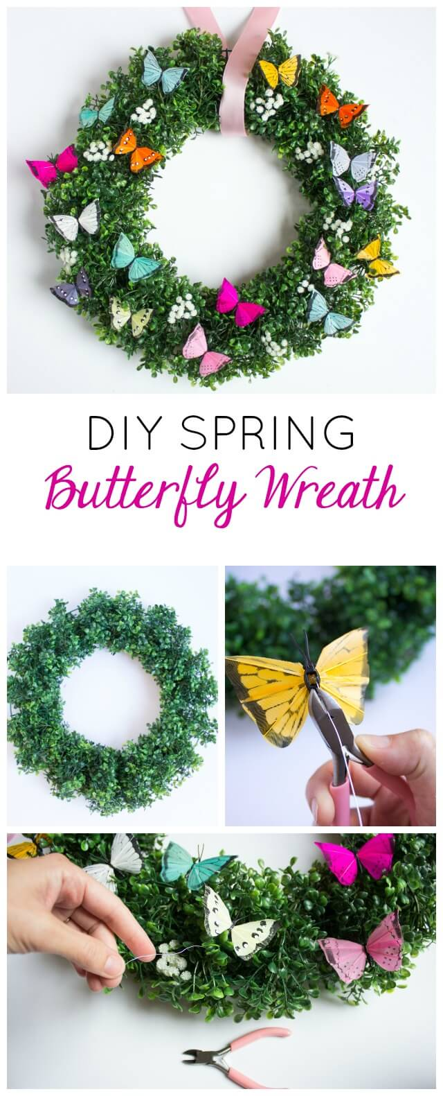 DIY Spring Wreaths with Colorful Butterflies