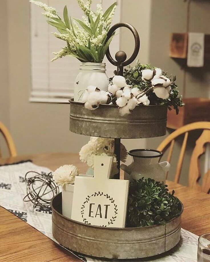 Washtub Metal 2-layer Centerpiece