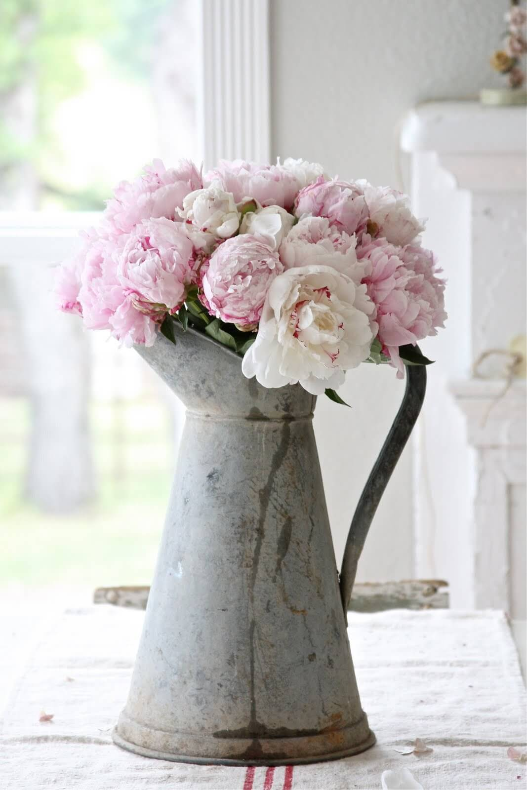 Galvanized Metal Pitcher Vase With Blush Peonies