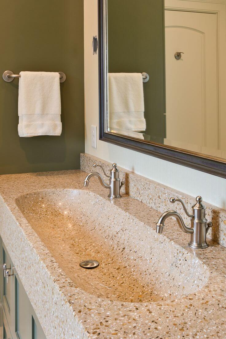 Elongated Sink with a Pop of Color