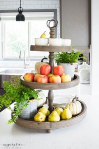 Natural Wood Tiered Fruit and China Tray