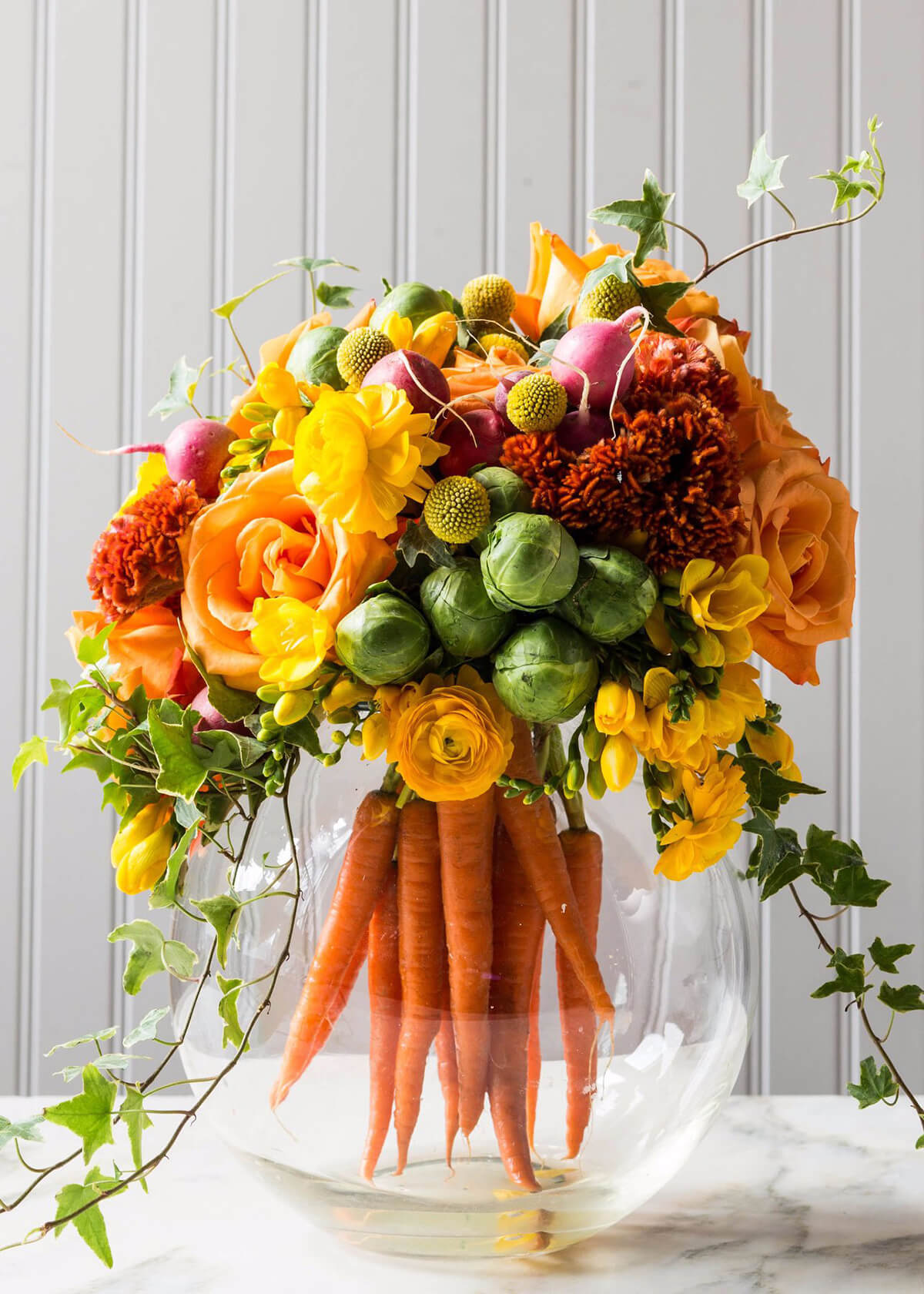 Whimsical Carrot Base Flower Arrangement