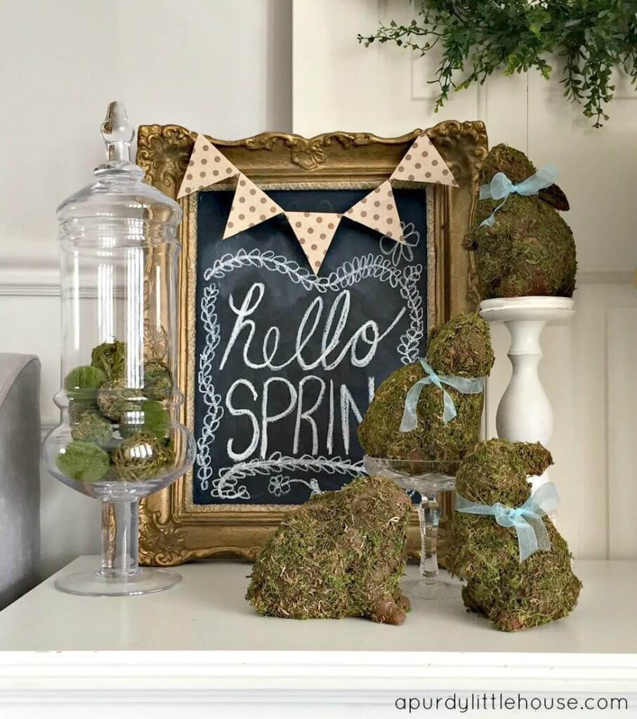 Ornate Framed Chalk Board and Mossy Bunnies
