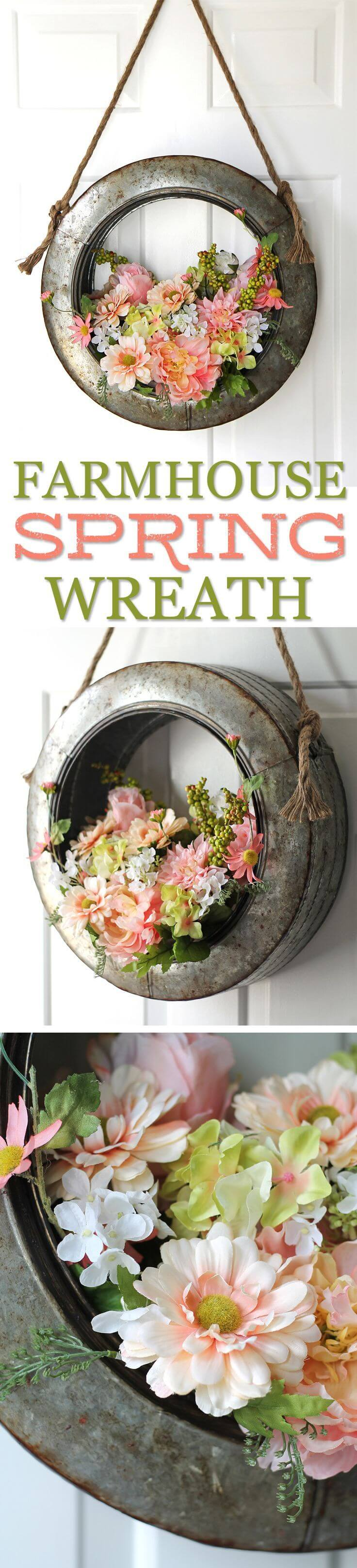 Unique Metal Wreath with Blooming Flowers