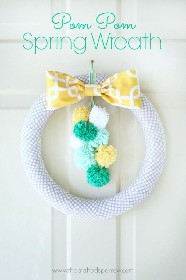 Cute DIY Spring Wreaths with Pom-Poms