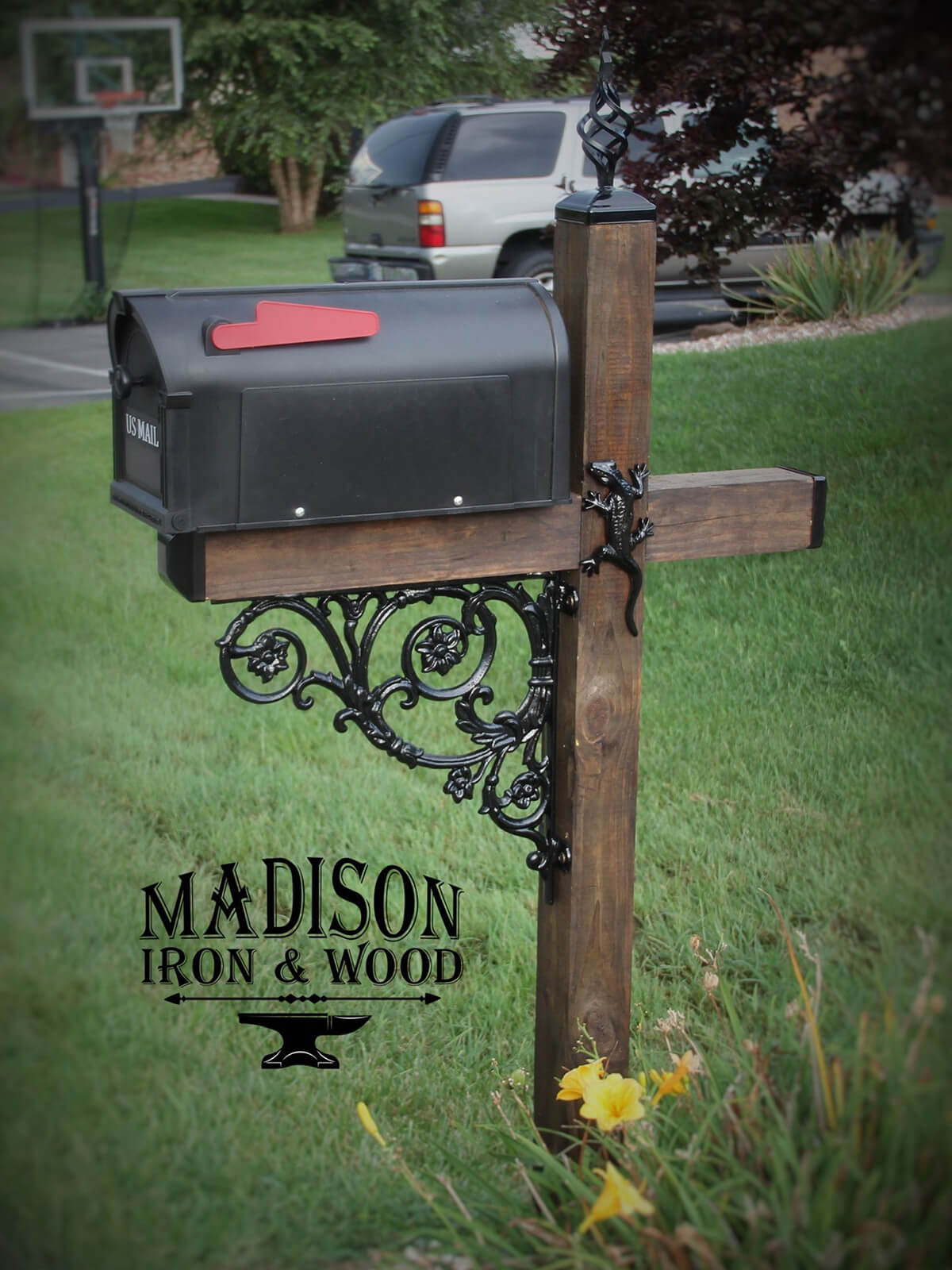 Mailbox with Unique Ironwork Accents