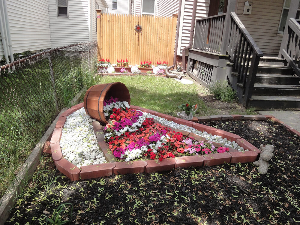 Striped Petunias in Brick Pavers
