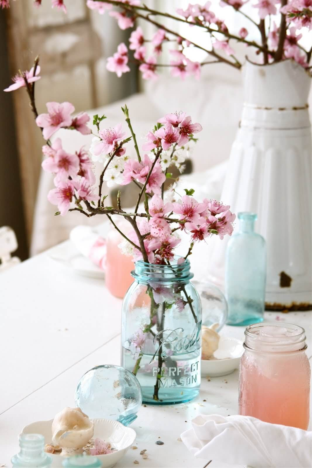 Simple Cherry Blossoms in a Mason Jar