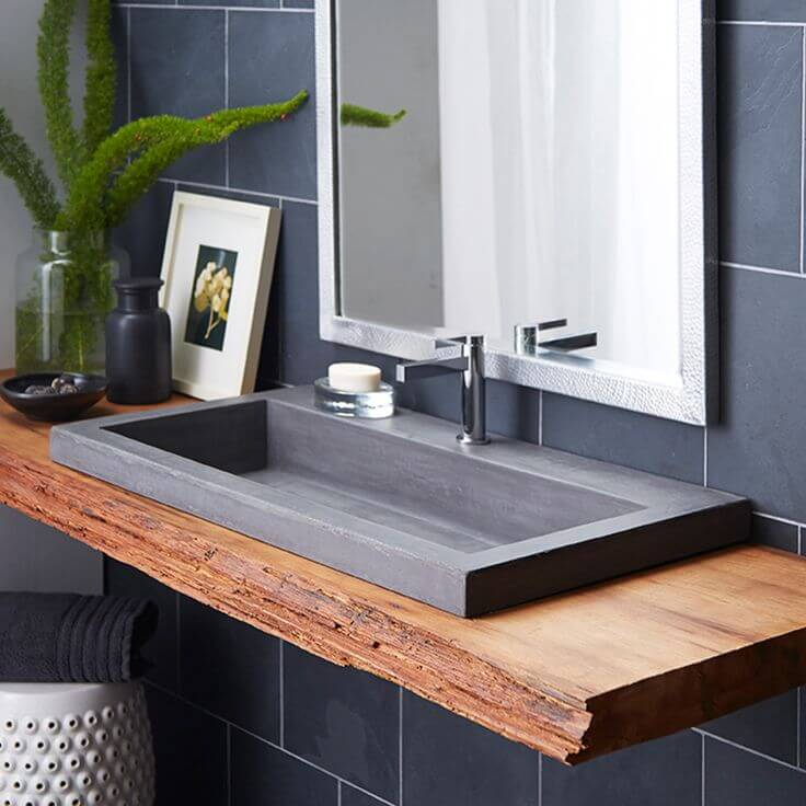 Wide Flat Sink with Rustic Wood Counter