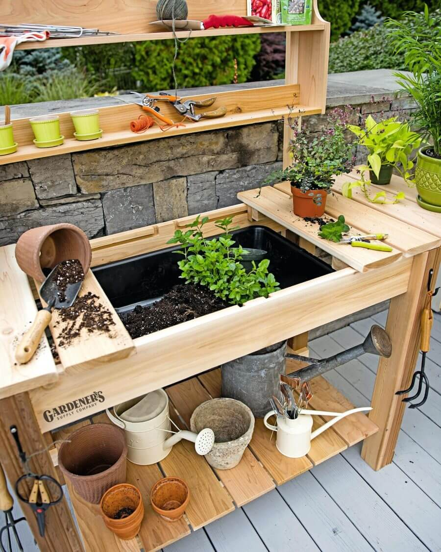 27 best potting bench ideas and designs for 2018 garden workstation with hidden potting soil workwithnaturefo