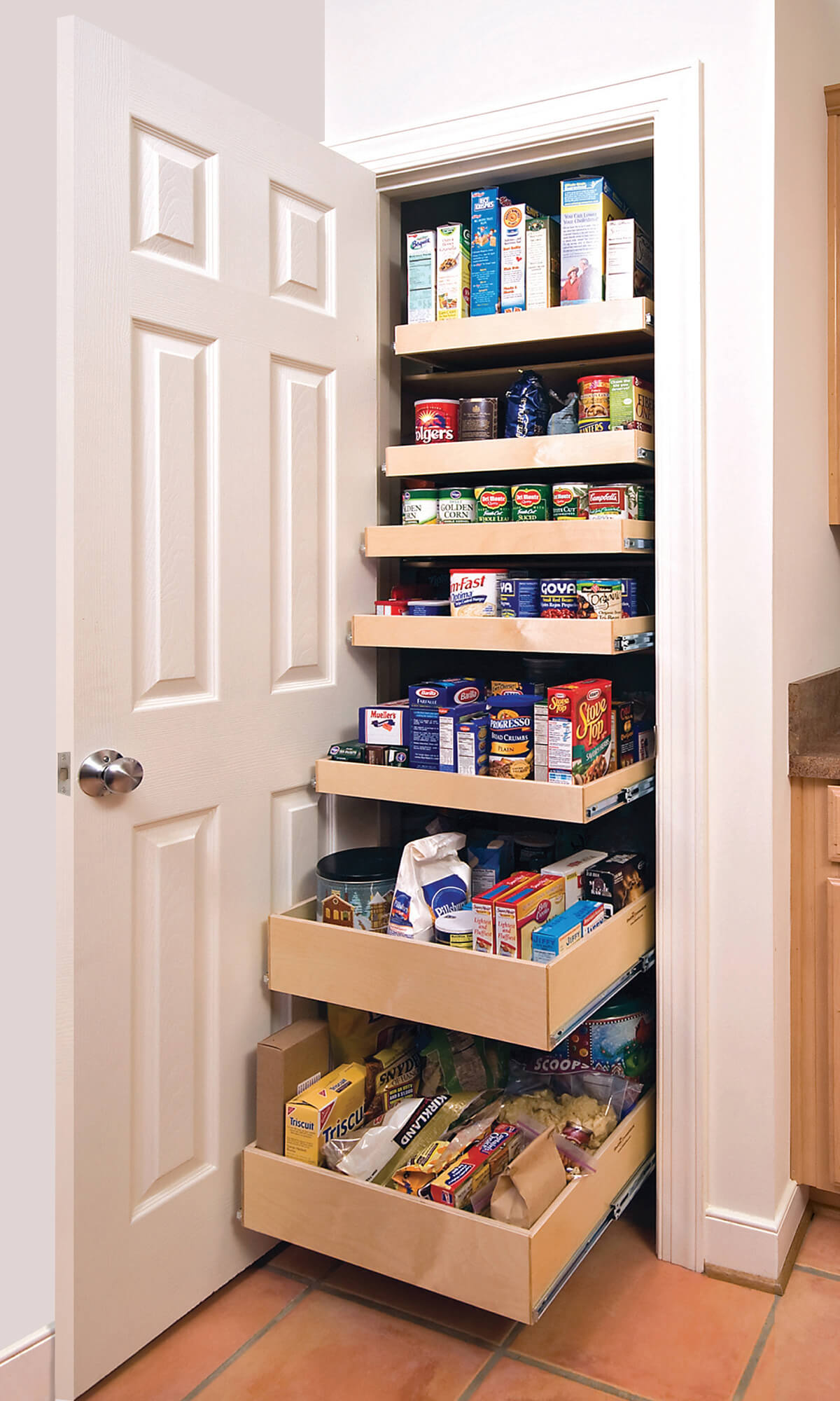 Graduated Sliding Drawers in the Pantry