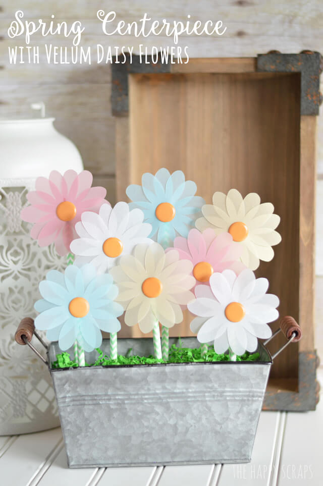Cutout Vellum Daisies in a Metal Box