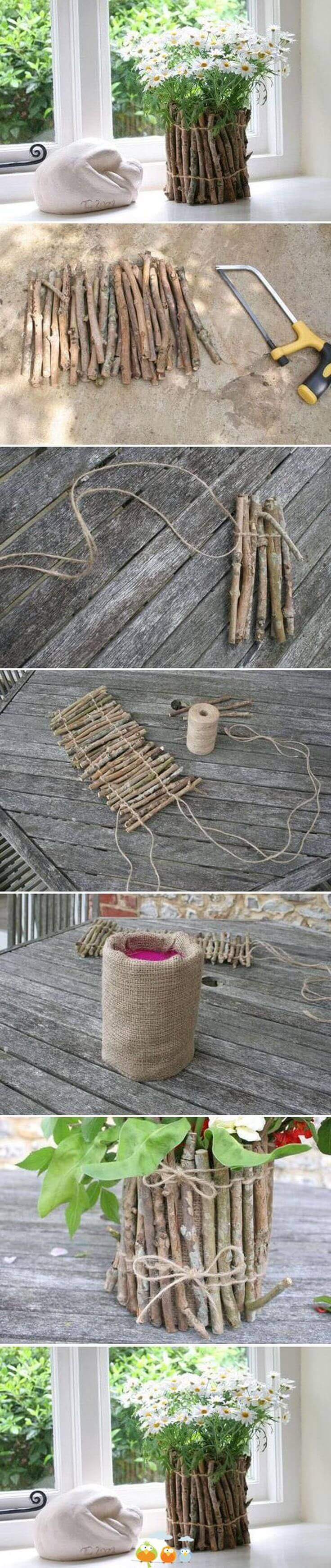 Burlap Lined Natural Stick Planter