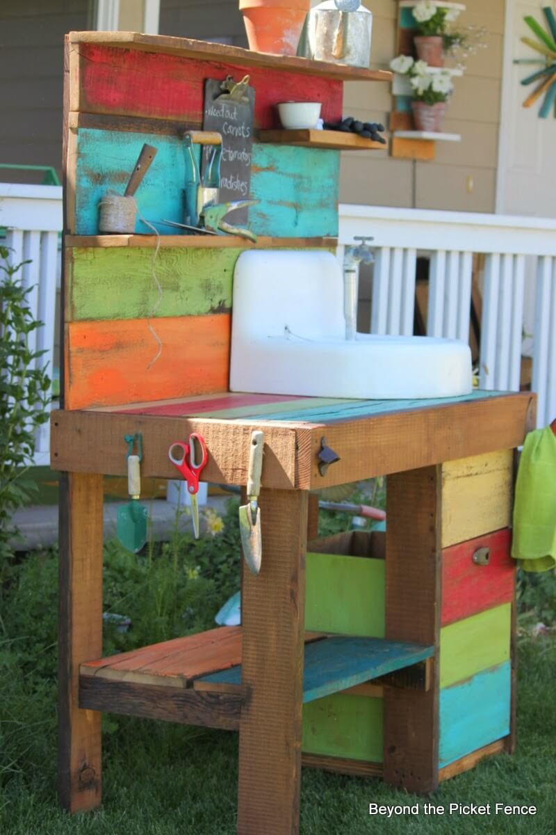 Distressed Rainbow Potting Table Project