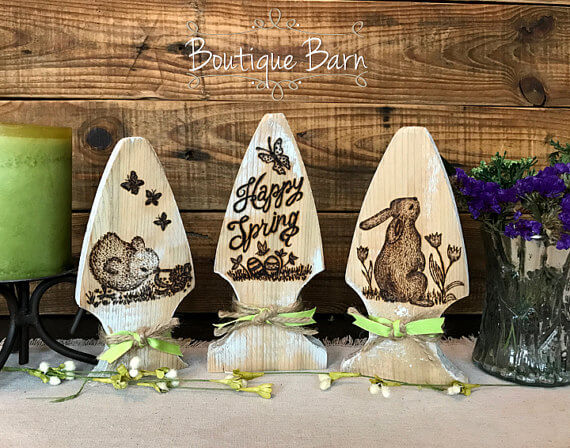 Easter Bunny Themed Decorative Fence Post Etchings
