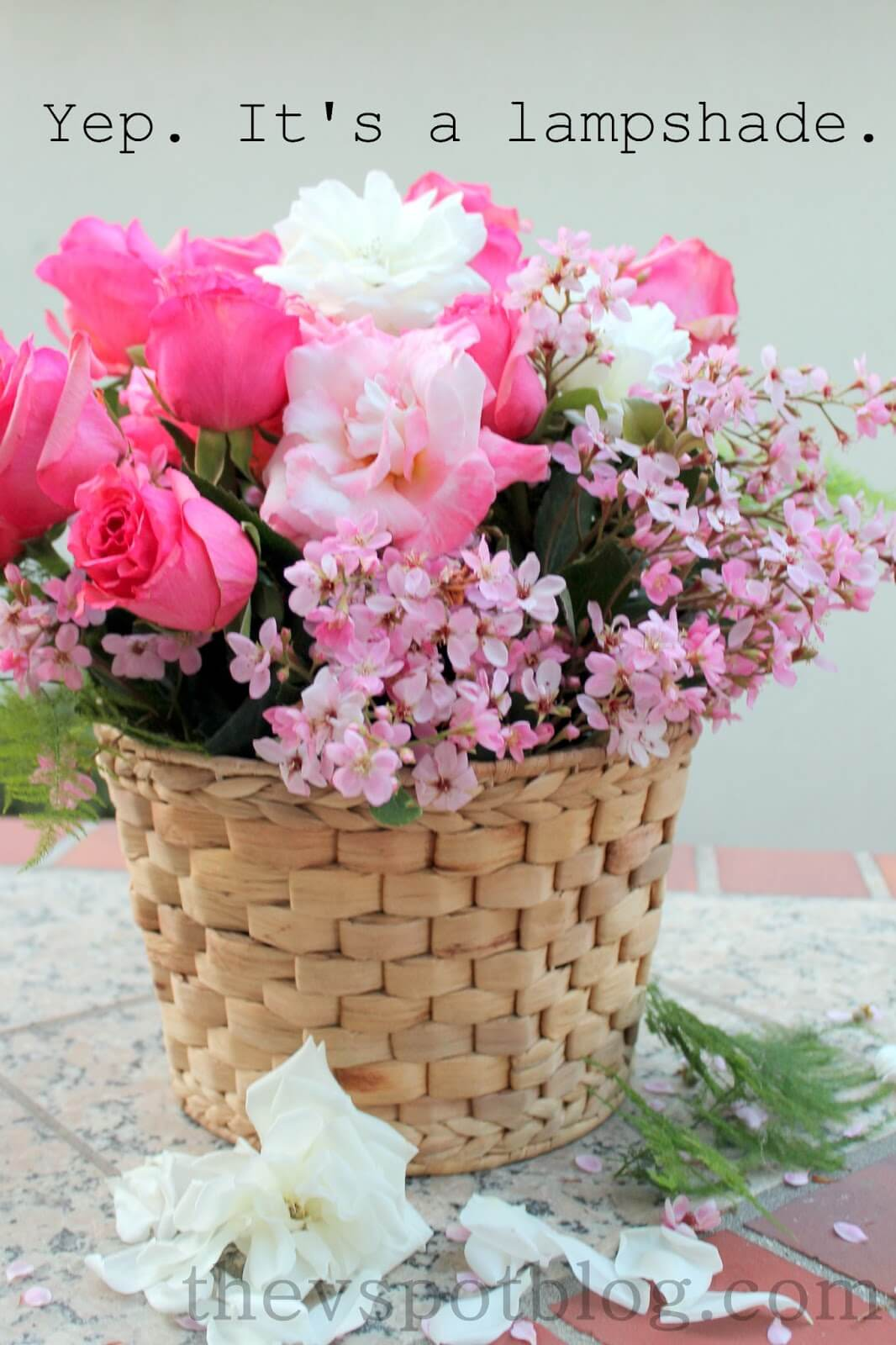 Lampshade Basket with Vibrant Pink Blossoms